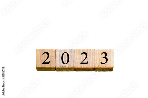 Fotografia  Year 2023 isolated on white background with copy space