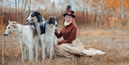 Foto  Portrait of LadyXIX Century  with russian borzoy dogs