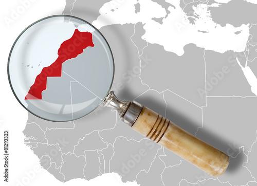 Spoed Foto op Canvas Marokko Cartina del Marocco sotto la lente - Morocco