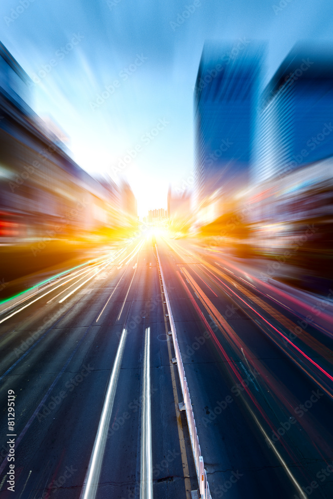 Fototapeta cars in highway with blur motion