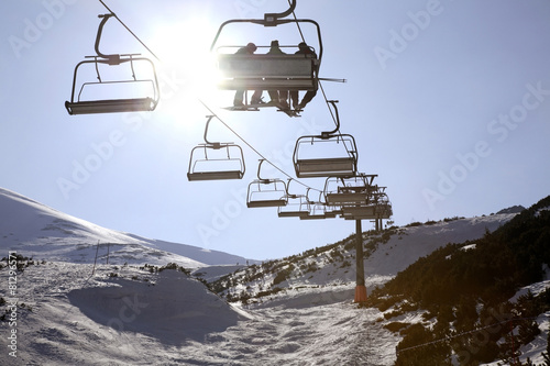 Chairlift in Tatra Mountains near Zakopane. Poland