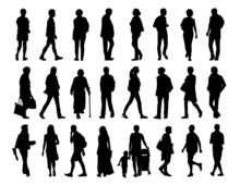 Big Set Of People Walking Silhouettes Set 2