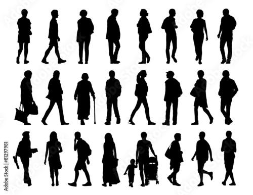 Fototapeta big set of people walking silhouettes set 2 obraz