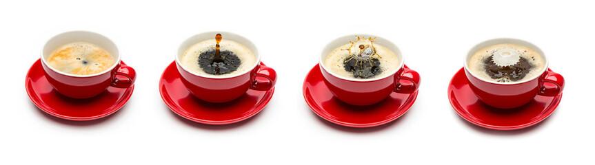 Kaffeetasse tropfen mit milch set collage