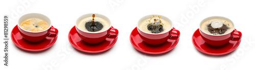 Kaffeetasse tropfen mit milch set collage #81298559