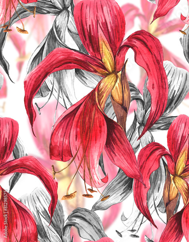 Fototapety, obrazy: Seamless Exotic Tropical Flowers Background