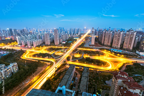 shanghai elevated road junction and interchange overpass at night Poster