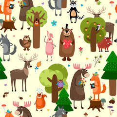 Fototapeta Las Happy forest animals seamless pattern background