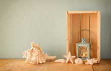 Old Nautical Lantern And Shell...