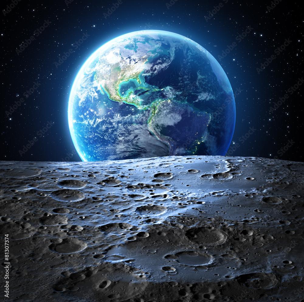 Fototapety, obrazy: Niebieski widok ziemi z powierzchni księżyca