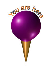 You Are Here Pin Icon In Purple And Gold