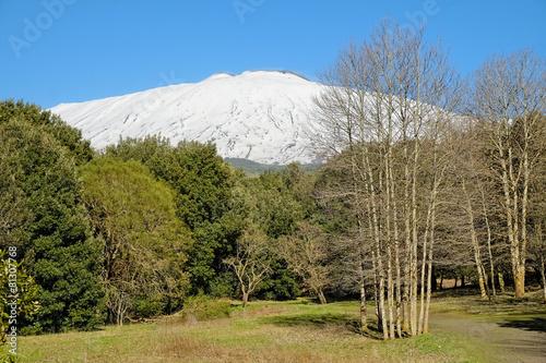 Fényképezés  Snowy Etna In National Park, Sicily