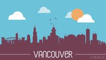 Vancouver Canada Skyline Silhouette Vector Illustration