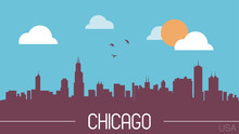 Chicago USA Skyline Silhouette Flat Design Vector