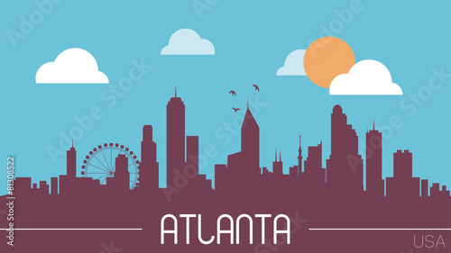 Photo Atlanta USA skyline silhouette flat design vector