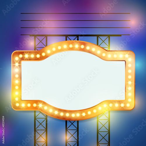 Photo  Retro bulb circus cinema light sign template