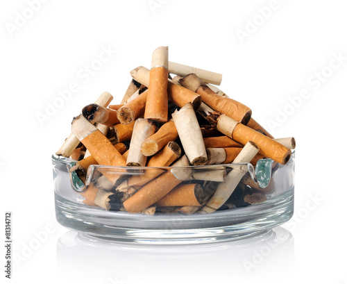 Cigarette butts in the ashtray on white Canvas Print