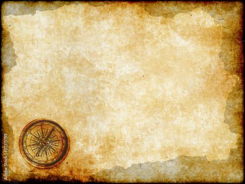 Fotografie, Obraz  golden compass with vintage map