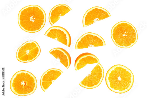 Fotografie, Obraz  Juicy slices of orange isolated on white