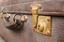 Old Closet Locked Retro Vintage Leather Suitcase Detail Closeup