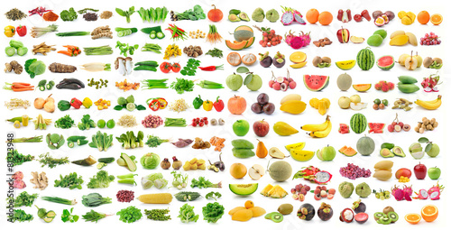 Foto op Plexiglas Keuken set of vegetable and fruit on white background
