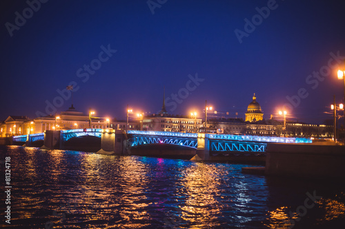 Saint-Petersburg, Russia, Palace Bridge and embankment, night Poster