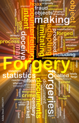 Forgery background concept wordcloud glowing Canvas-taulu