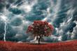 Leinwanddruck Bild - Stormy tree landscape