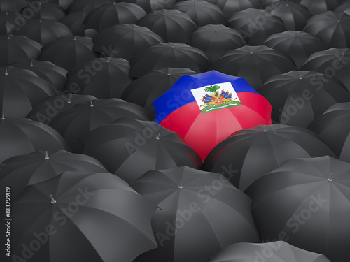 Wallpaper Mural Umbrella with flag of haiti