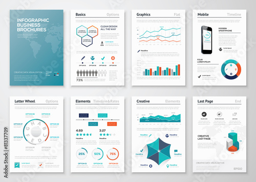 Photo  Infographic corporate brochures for business data visualization