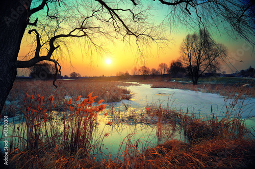 Staande foto Chocoladebruin Winter rural landscape at sunset