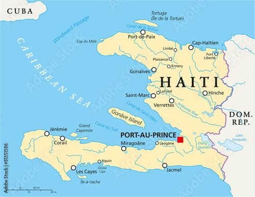 Canvas Print Haiti Political Map