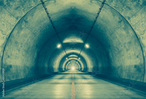 Wall Murals Tunnel Interior of an urban tunnel at mountain without traffic..