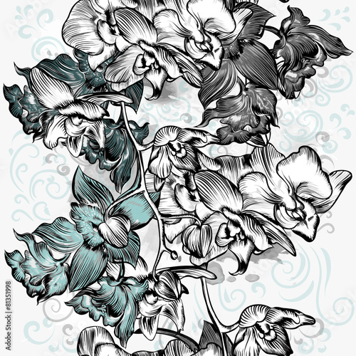 Seamless grunge with orchids in grey watercolor style