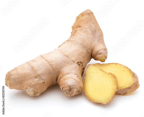 Fotografia Fresh ginger root or rhizome isolated on white background cutout
