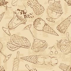 Retro sketch seamless pattern of ice cream