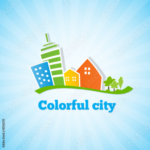 Poster Blanc Colorful city. Bright picture of the city.