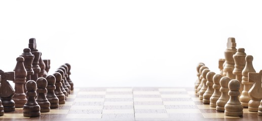 Army. Chess on white background