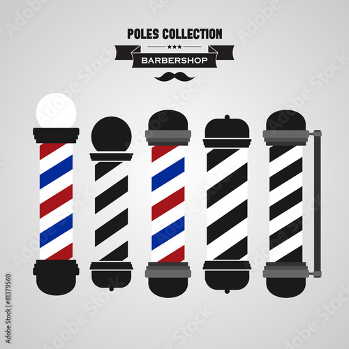 Fototapeta Barber shop vintage pole icons set