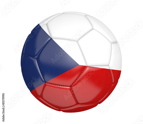 Photo  Soccer ball, or football, with the flag of Czech Republic