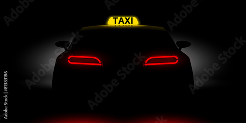 Canvas realistic car taxi back view