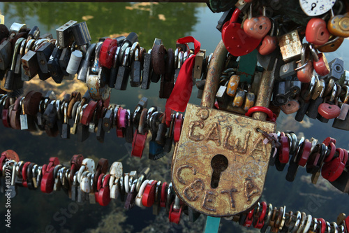 Fotografie, Obraz  Love locks fixed in the Dmitrov Kremlin, Russia.