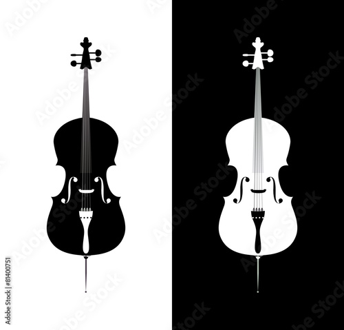 Cello in black and blue colors Fotobehang
