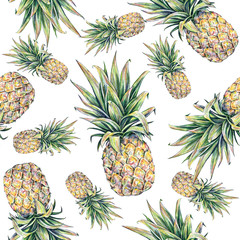 Panel Szklany Owoce Pineapple on a white background. Seamless pattern