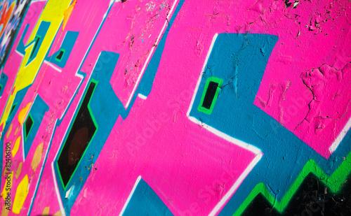 plakat Streszczenie kolorowe graffiti na starej ścianie fragment