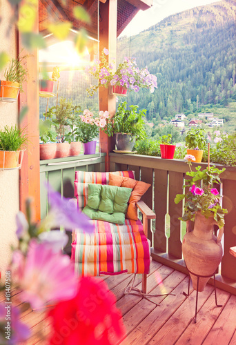 Fotobehang Tuin schöner Balkon mit Blumen - nice balcony 05