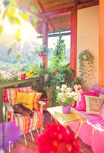 Fotobehang Tuin Schöner Balkon mit Blumen - nice balkony 06