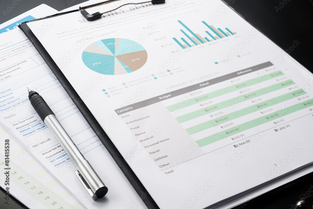 Fototapeta accounting business and financial report with pen .