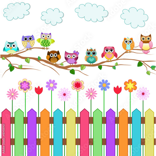 Poster Uilen cartoon Cute Owls on a Branch Vector