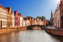 Bruges Canals: Spiegelrei And Jan Van Eyckplein As Background